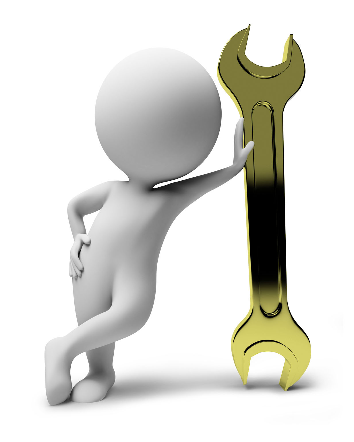 3d small people with a wrench. 3d image. Isolated white background.
